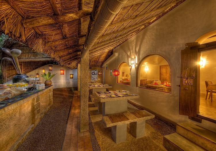 The multicuisine restaurant, 'Falling Leaves', offers fresh food prepared with internally sourced organic produce