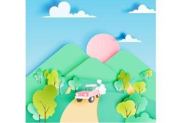 Road trip with car and natural pastel color scheme backgroud paper cut style vector illustration