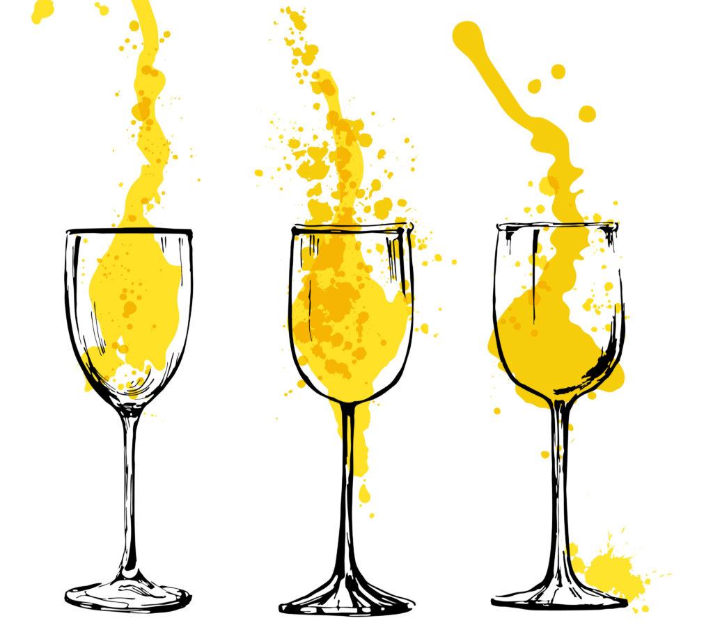mango drink in wine glasses